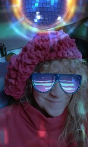 Tamara with her great disco hat